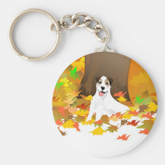 Key Chain - Jack Russell Terrier Dog - Autumn