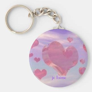key chain, je taime, hearts basic round button keychain