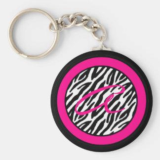 Key Chain Monogram Hot Pink Zebra Animal Print
