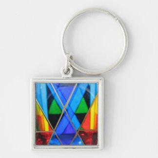 Key Chain--Murano Glass Blue Diamond Keychain
