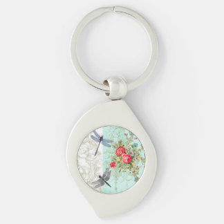 Key chain of silver Romance OF Dragonfly