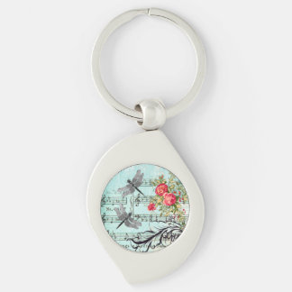 Key chain of silver Romance OF Vintage Dragonfly
