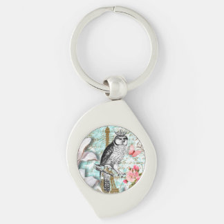 Key chain of silver Romance OF Vintage Owl
