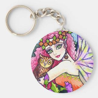 Key Chain Owl Flower Fairy Fantasy by Ann Howard