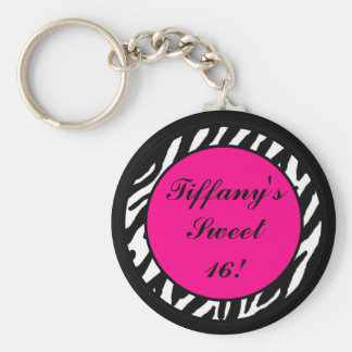 Key Chain Personalized Hot Pink Zebra Animal Print