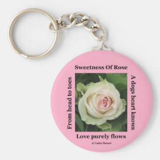 Key Chain Poetic Rose On Pink By Ladee Basset