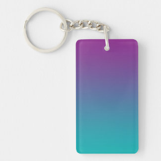 Key Chain: PURPLE AND TEAL OMBRE Keychain