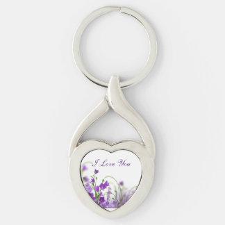 Key Chain--Purple Flowers-Horizontal Keychain