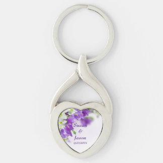 Key Chain--Purple Flowers-Vertical Keychain