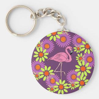KEY CHAIN Retro Flamingo & Crazy-Daisy Flowers