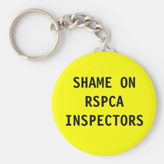 Key Chain Shame On RSPCA Inspectors Basic Round Button Keychain