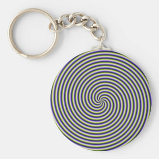 Key Chain  Swirl in Green Blue and Violet