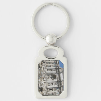 Key Chain--Trevi Fountain Silver-Colored Rectangular Metal Keychain
