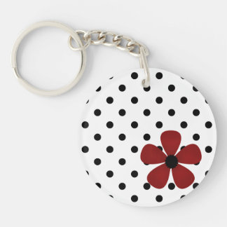 Key Chain -White & Black Polka Dot with Red Flower