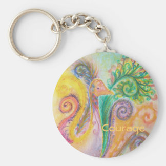 """Key Chain with Colourful Swirly Bird and """"Courage"""""""