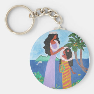 Key chain with Tahitian mother and daughter