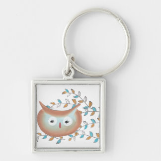 Key Chains Owl Picture in Brown & Teal