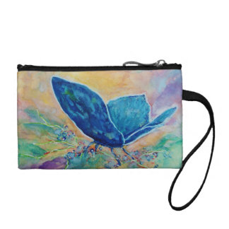 Key Coin Clutch - Colorful Watercolor Butterfly
