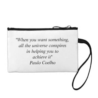Key Coin Clutch with Paulo Coelho Quote Coin Wallet