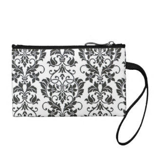Key coin zipper bag-black and white Damask Coin Purse