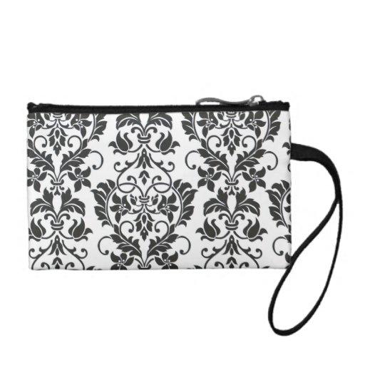 Key coin zipper bag-black and white Damask Coin Purse