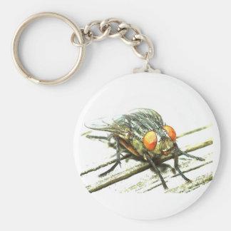 Key fly basic round button keychain