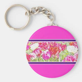Key Fob - floral design Basic Round Button Keychain