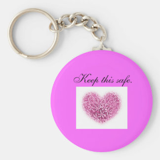 Key Fob - keep this safe - pink heart design Basic Round Button Keychain