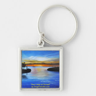 Key Largo at Sunset Silver-Colored Square Keychain