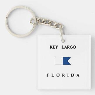 Key Largo Florida Alpha Dive Flag Square Acrylic Keychains