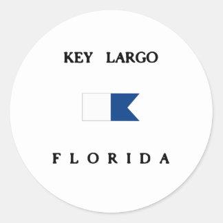 Key Largo Florida Alpha Dive Flag Round Sticker