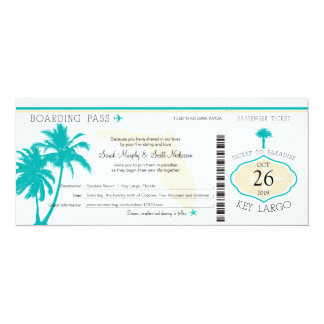 Key Largo Florida Palm Tree Boarding Pass Wedding Card