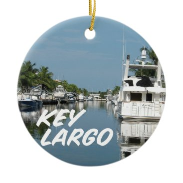 Christmas Themed Key Largo Florida scene Ceramic Ornament