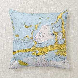 Key Largo nautical chart map Throw Pillow