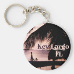 Key Largo Sunset Basic Round Button Keychain