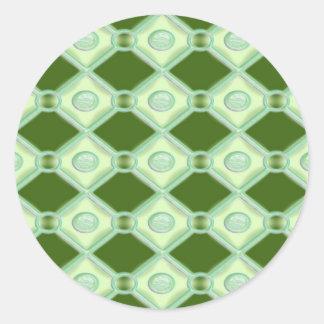 Key Lime Diamonds Round Stickers