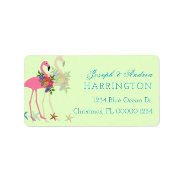 Beach Themed Key Lime Flamingos Christmas Address Labels