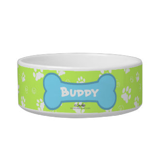 Key Lime Island Time Personalized Paw Print Bowl Cat Water Bowl