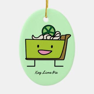 Key Lime Pie American dessert slice graham crust Ceramic Ornament