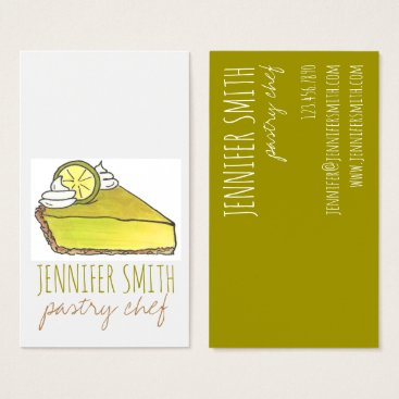 Professional Business Key Lime Pie Slice Pastry Chef Food Business Cards