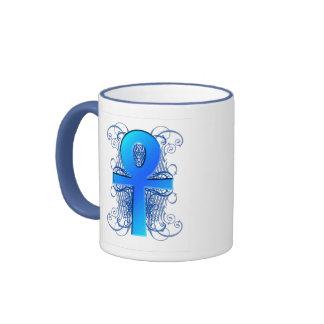 """""""Key of Life (Ankh)"""" in Blue Coffee Mug"""