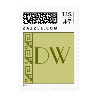 Key Pattern Sage Monogram Stamps
