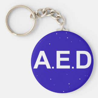 Key-ring AED Basic Round Button Keychain