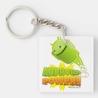 Key ring Android square Power Double-Sided Square Acrylic Keychain
