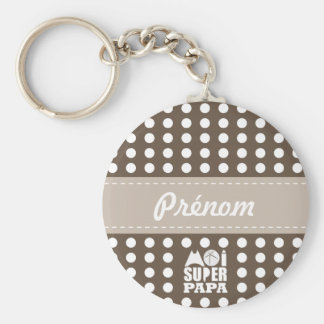 Key-ring Chestnut-Sand & first name me Super Dad Keychain