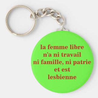 "key-ring ""free woman "" basic round button keychain"