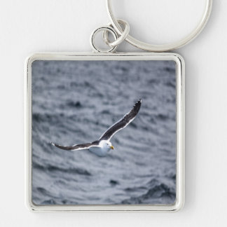 Key-ring Gull #1 Silver-Colored Square Keychain