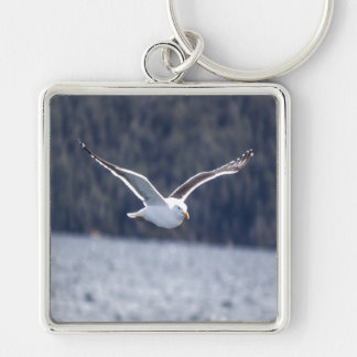Key-ring Gull #3 Silver-Colored Square Keychain