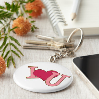 key ring I love you pink color Keychain