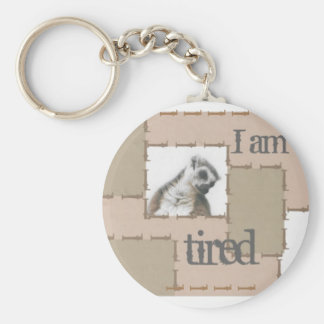 key-ring: I'm so tired… And so cute Basic Round Button Keychain
